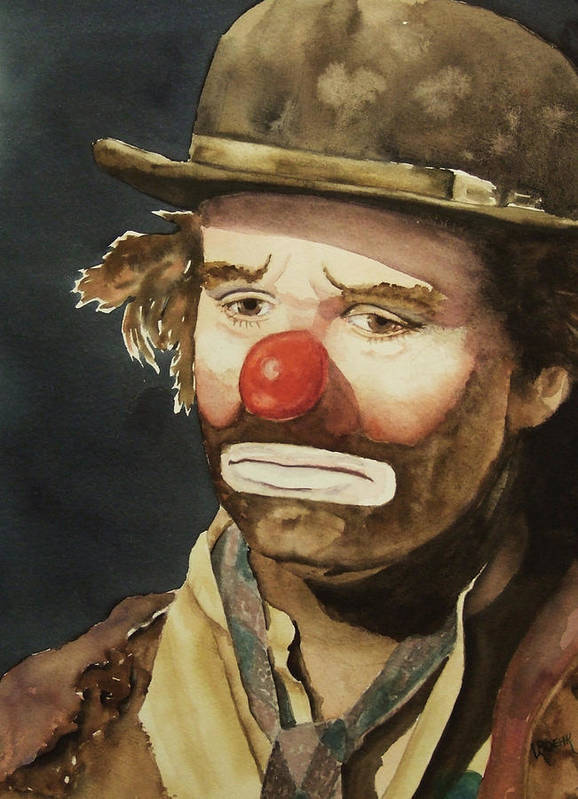 Emmett Kelly Print featuring the painting Emmett Kelly by Greg and Linda Halom
