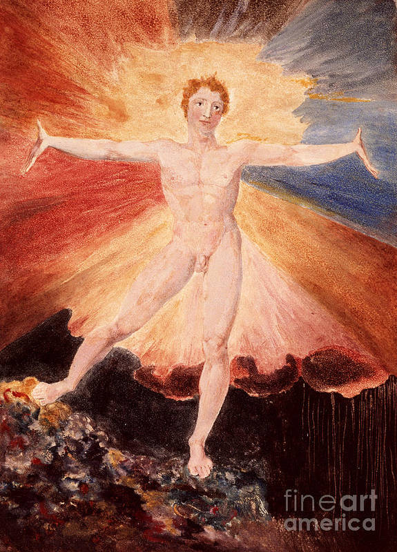 Literature Print featuring the painting Glad Day Or The Dance Of Albion by William Blake