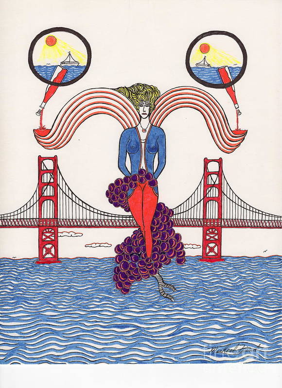 San Francisco Print featuring the drawing Golden Gate Lady And Wine by Michael Friend