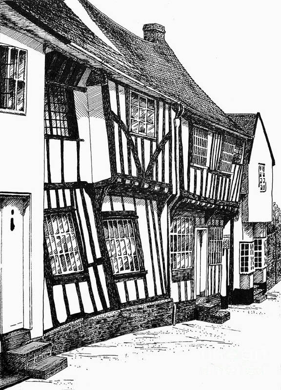 Ancient Print featuring the drawing Lavenham Timber by Shirley Miller