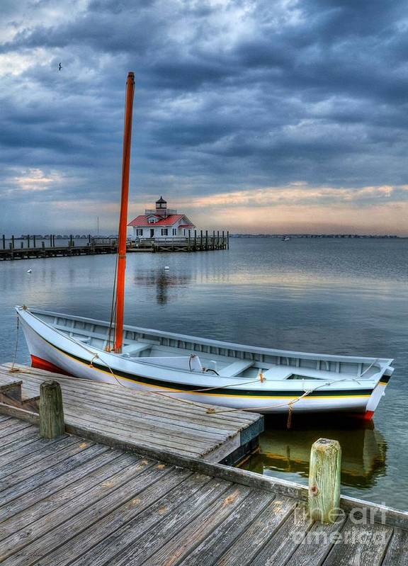Boats Print featuring the photograph Manteo Waterfront 2 by Mel Steinhauer