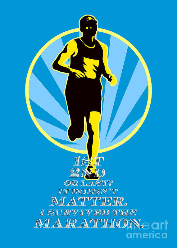 Poster Print featuring the digital art Marathon Runner First Retro Poster by Aloysius Patrimonio
