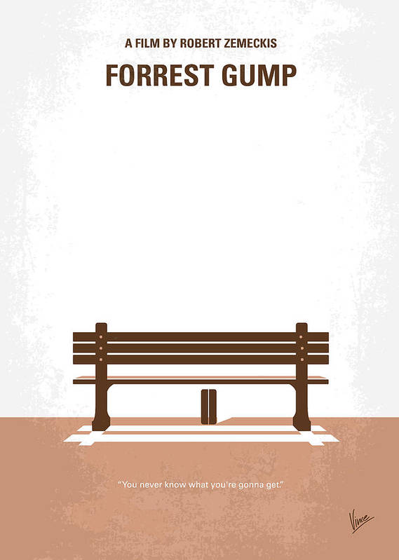Forrest Print featuring the digital art No193 My Forrest Gump Minimal Movie Poster by Chungkong Art