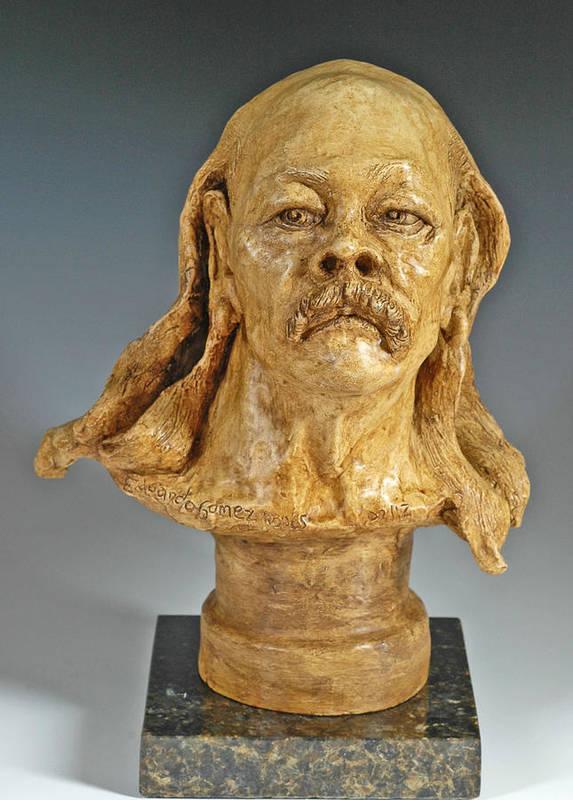 Figurative Sculpture Print featuring the sculpture Old Hippie by Eduardo Gomez