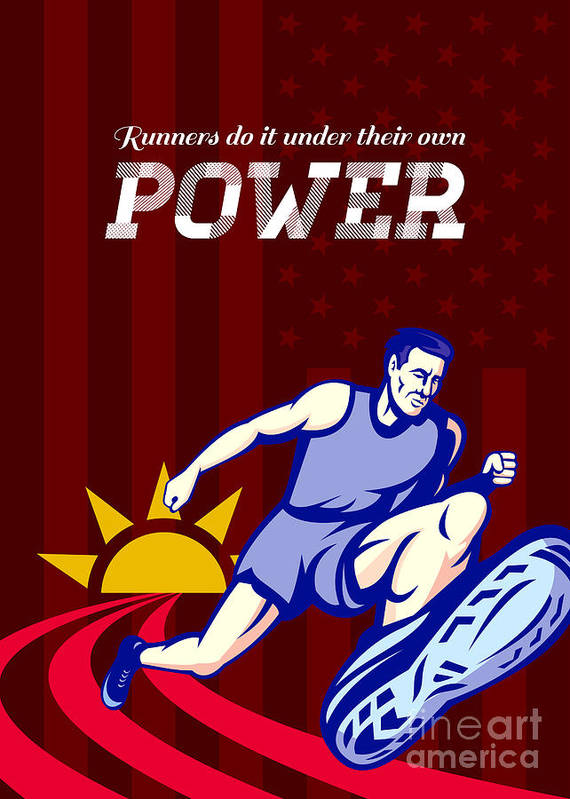 Poster Print featuring the digital art Runner Running Power Poster by Aloysius Patrimonio