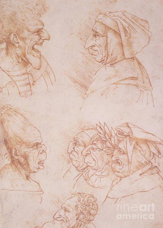 Renaissance Print featuring the drawing Seven Studies Of Grotesque Faces by Leonardo da Vinci
