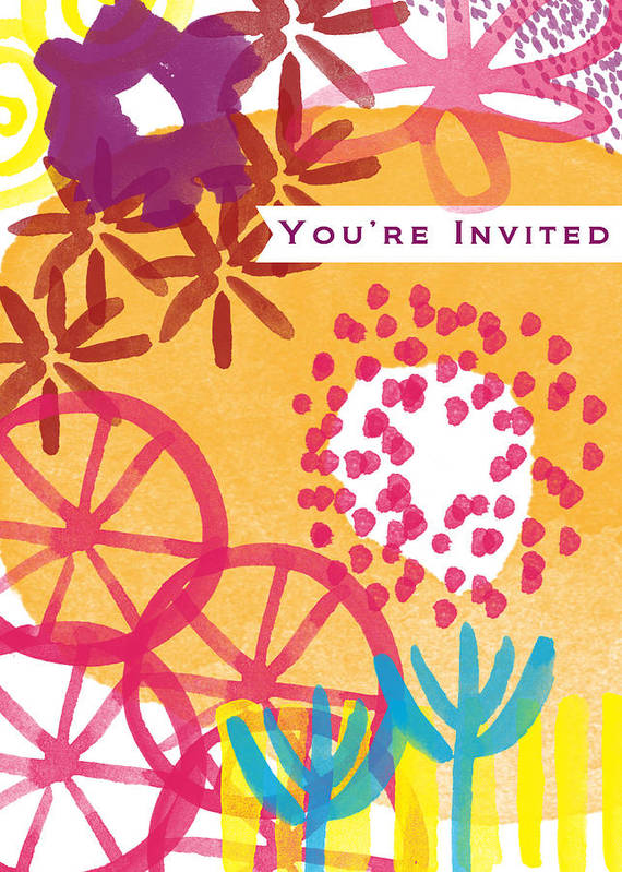 Party Invitation Print featuring the painting Spring Floral Invitation- Greeting Card by Linda Woods