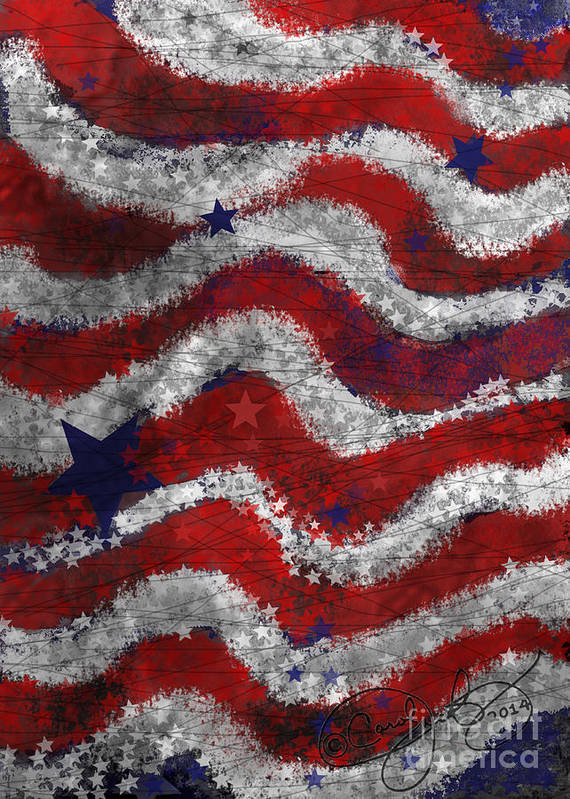 Flag Print featuring the painting Starry Stripes by Carol Jacobs