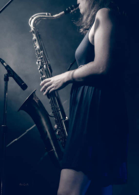 Sax Print featuring the photograph The Saxophonist Sounds In The Night by Bob Orsillo