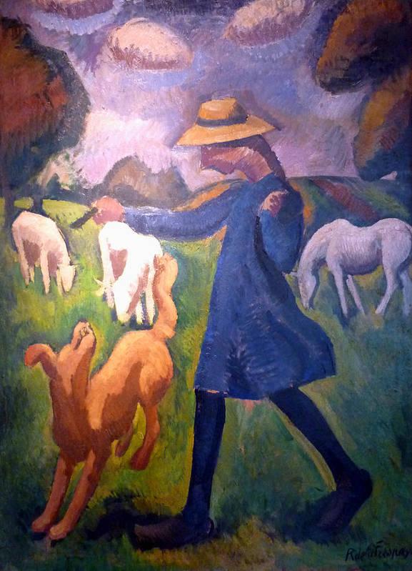 Roger De La Fresnaye Print featuring the digital art The Shepherdess by Roger de La Fresnaye