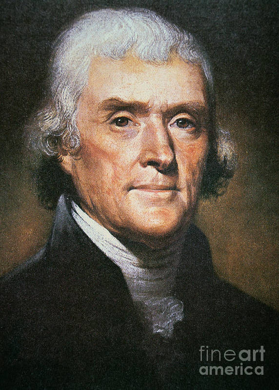 Philosopher Print featuring the painting Thomas Jefferson by Rembrandt Peale
