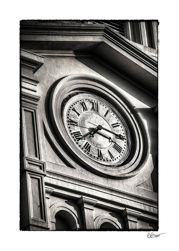 Time Print featuring the photograph Time In Black And White by Brenda Bryant