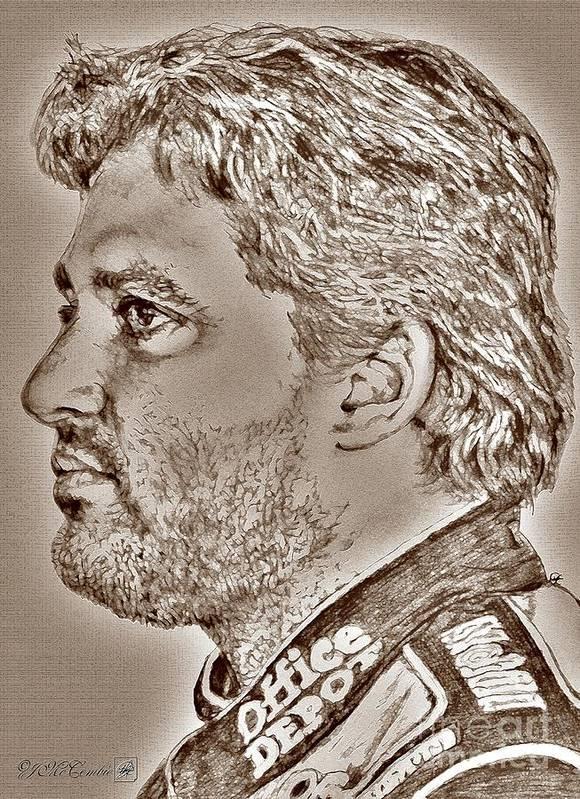 Tony Stewart Print featuring the digital art Tony Stewart In 2011 by J McCombie