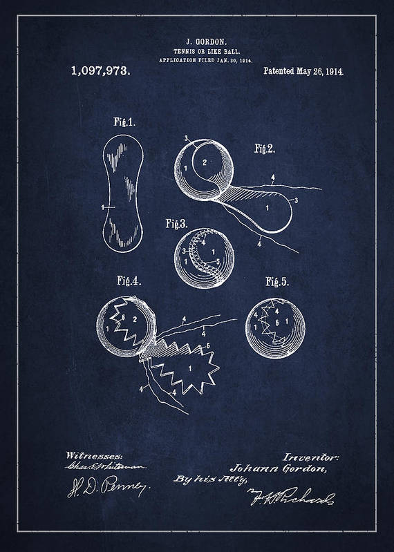 Tennis Ball Print featuring the drawing Vintage Tennis Ball Patent Drawing From 1914 by Aged Pixel