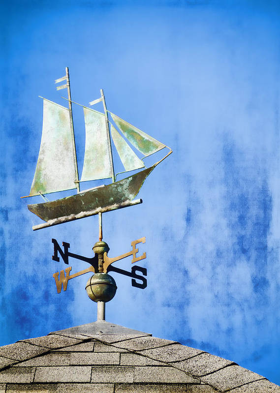 Weathervane Print featuring the photograph Weathervane Clipper Ship by Carol Leigh