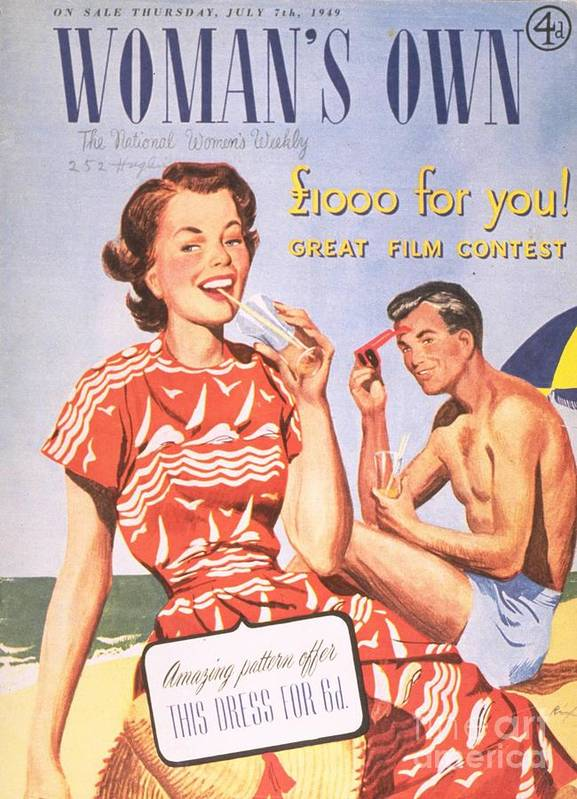 1940�s Print featuring the drawing Womans Own 1949 1940s Uk Holidays by The Advertising Archives
