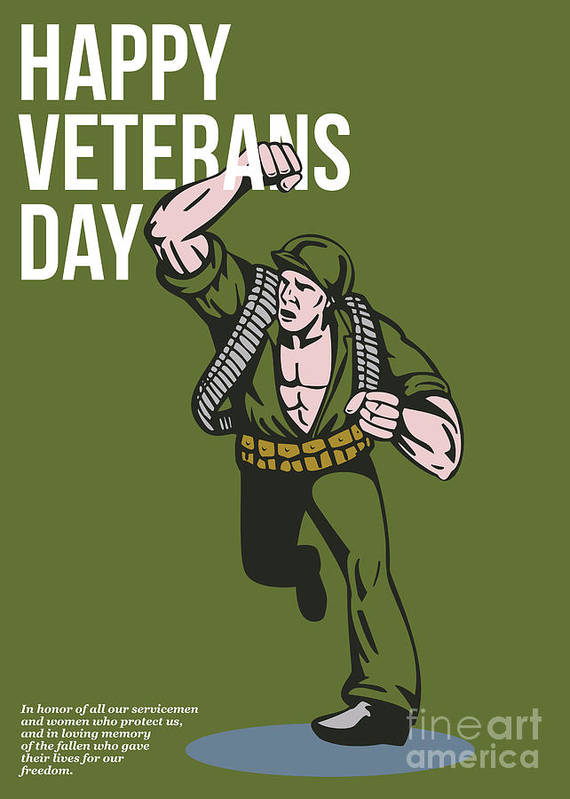 Veteran Print featuring the digital art World War Two Veterans Day Soldier Card by Aloysius Patrimonio
