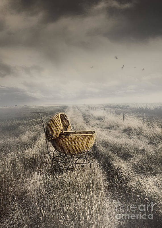 Abandoned Print featuring the photograph Abandoned Antique Baby Carriage In Field by Sandra Cunningham