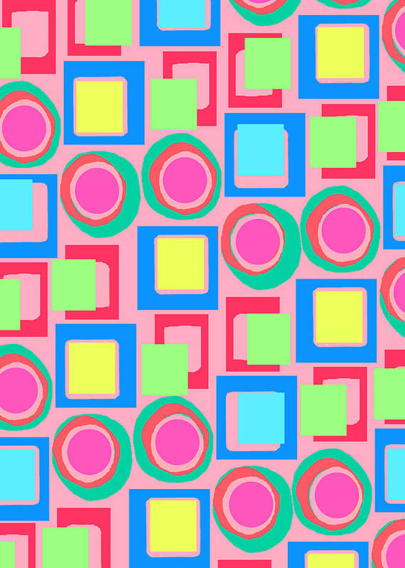 Louisa Print featuring the digital art Circles And Squares by Louisa Knight