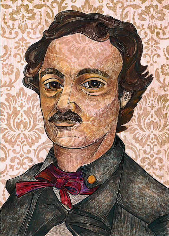 Edgar Allan Poe Print featuring the drawing Edgar Allan Poe After The Thompson Daguerreotype by Nancy Mitchell