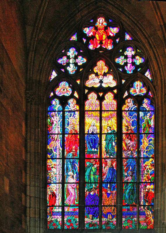 Pentecost Print featuring the photograph Pentecost Window - St. Vitus Cathedral Prague by Christine Till