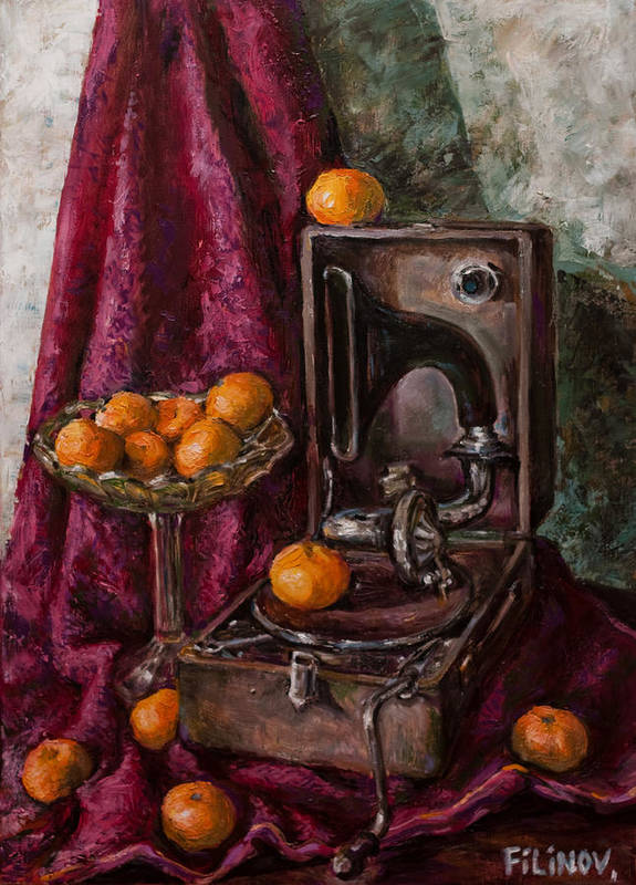 Tangerines Print featuring the painting Tangerines by Boris Filinov