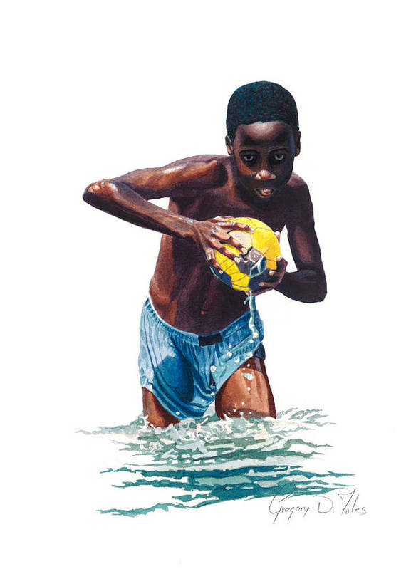 Boy Print featuring the painting Water Game by Gregory Jules