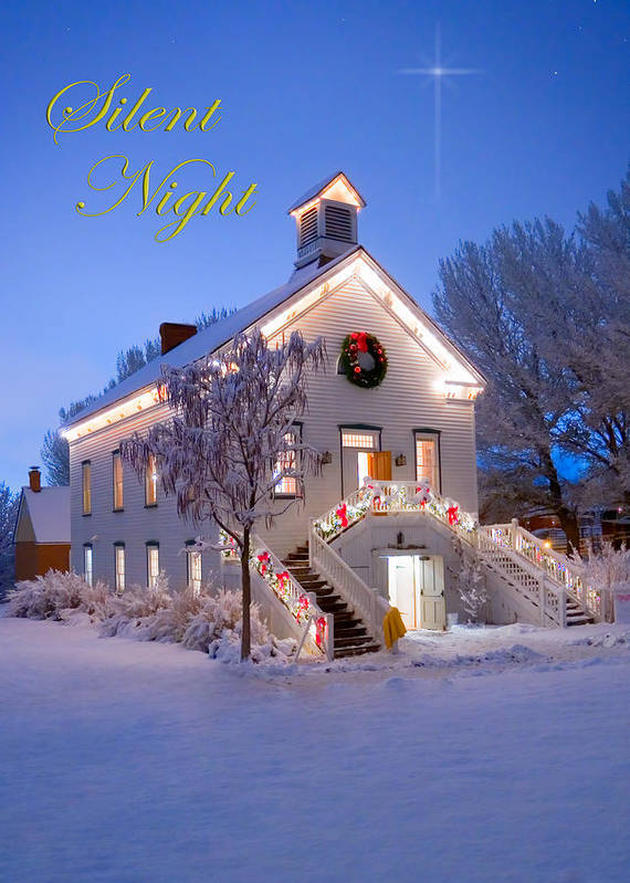Christmas Print featuring the photograph Pioneer Church At Christmas Time by Utah Images