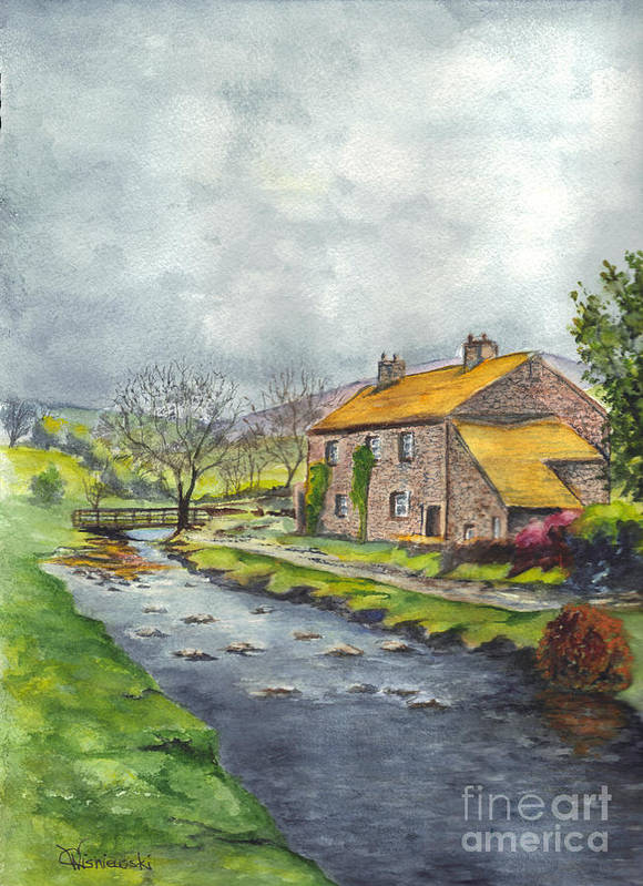 Hand Painted Print featuring the painting An Old Stone Cottage In Great Britain by Carol Wisniewski