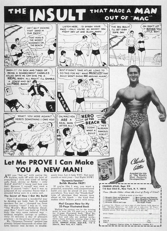 1962 Print featuring the photograph Body-building Ad, 1962 by Granger