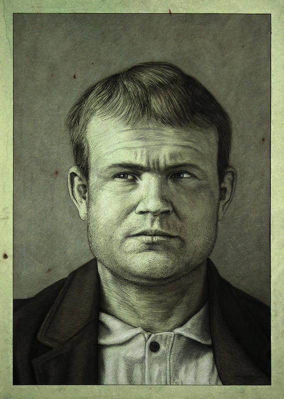 Butch Cassidy Print featuring the painting Butch Cassidy by James W Johnson