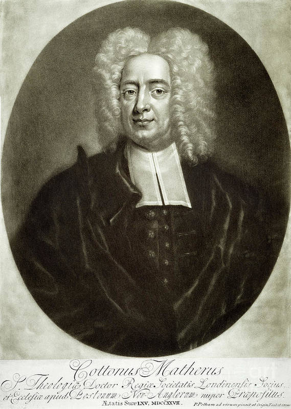 18th Century Print featuring the drawing Cotton Mather 1663-1728 by Granger