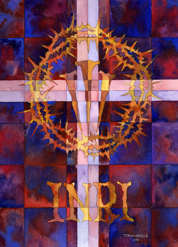 Crown Print featuring the painting Crown Of Thorns by Mark Jennings