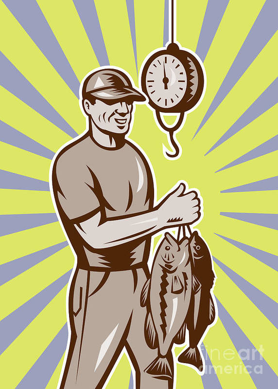 Largemouth Print featuring the digital art Fly Fisherman Weighing In Fish Catch by Aloysius Patrimonio