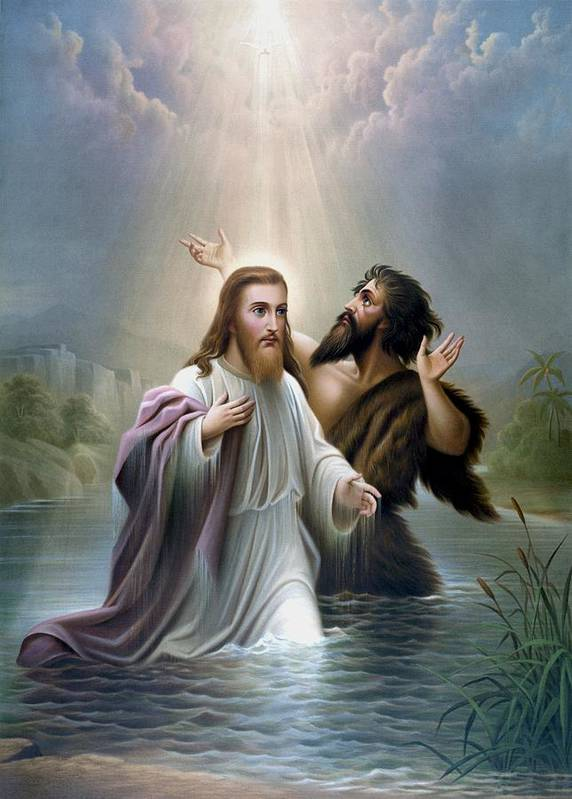 Jesus Print featuring the painting John The Baptist Baptizes Jesus Christ by War Is Hell Store