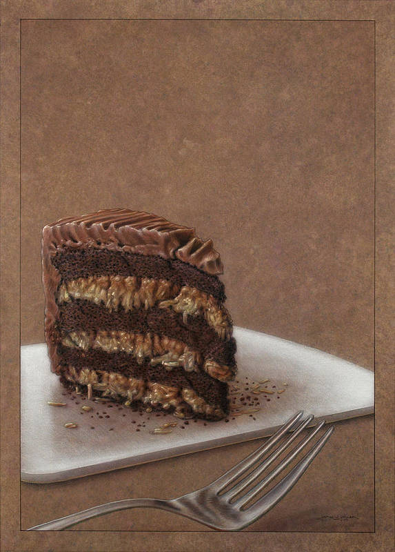 Chocolate Print featuring the painting Let Us Eat Cake by James W Johnson
