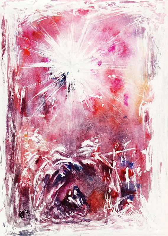 Nativity Print featuring the painting Nativity 5 by Rachel Christine Nowicki