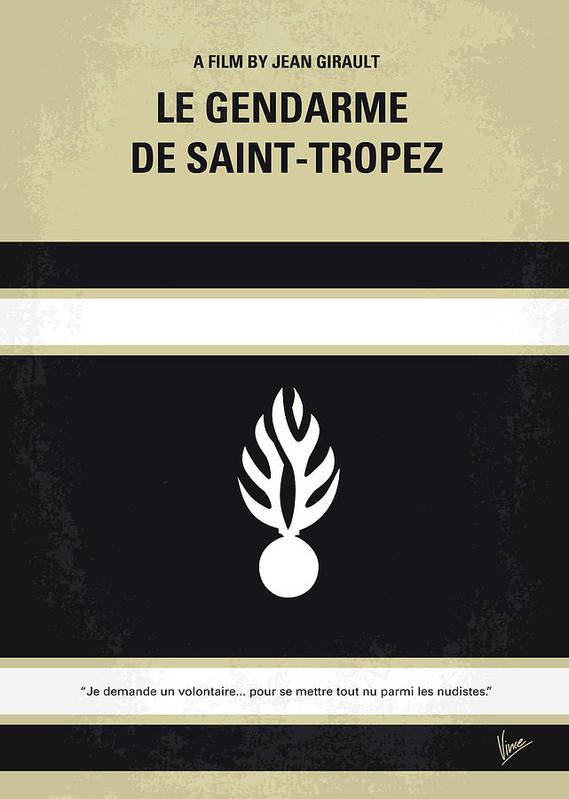 Le Print featuring the digital art No186 My Le Gendarme De Saint-tropez Minimal Movie Poster by Chungkong Art
