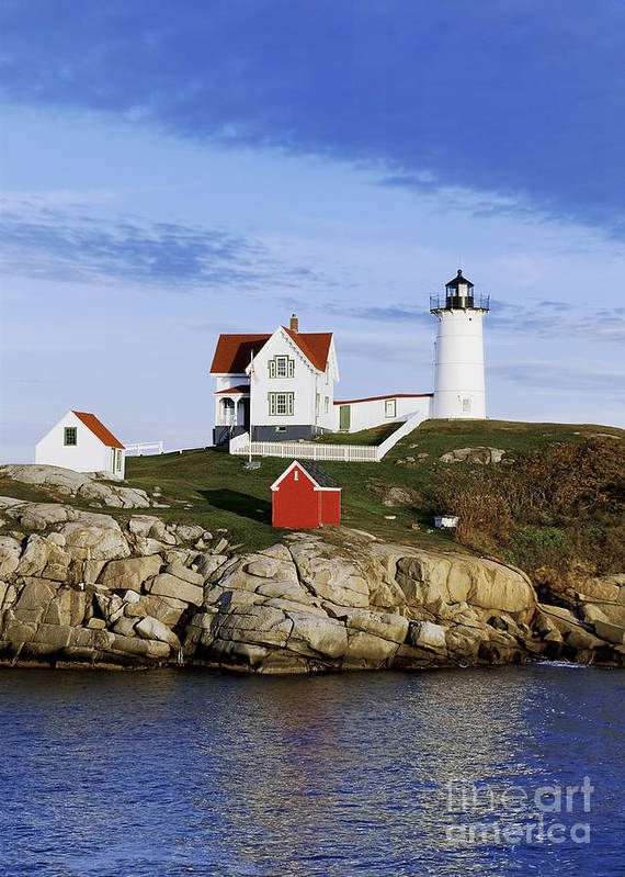 Maine Print featuring the photograph Nubble Lighthouse by John Greim