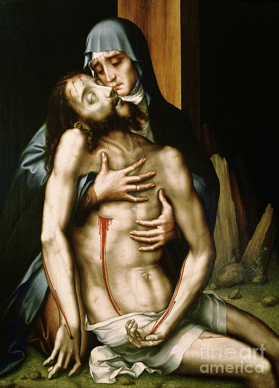 Pieta (oil On Panel) By Luis De Morales (1500-86) Print featuring the painting Pieta by Luis de Morales