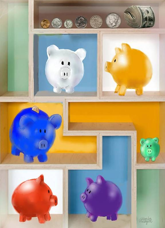 Pigs Print featuring the digital art Piggy Banks by Arline Wagner