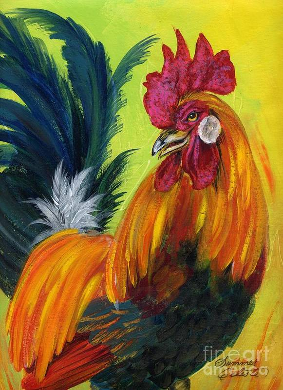 Rooster Print featuring the painting Rooster Kary by Summer Celeste
