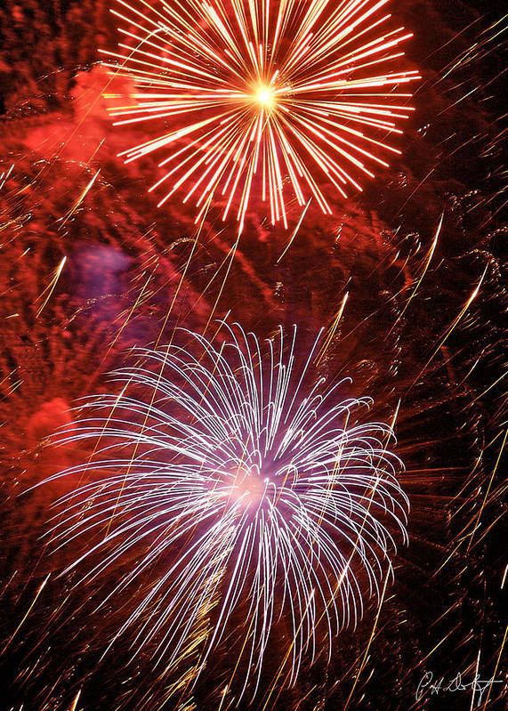 July 4th Print featuring the photograph Sky Explosion by Phill Doherty