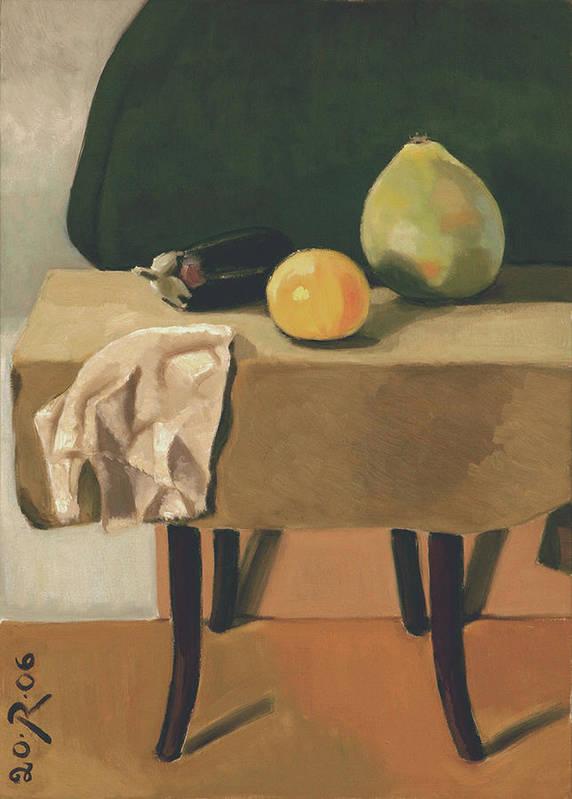 Still-life Chair Grapefruit Cucurbit Aubergine Drapery Green Brown Yellow Print featuring the painting Still-life With Grapefruit by Raimonda Jatkeviciute-Kasparaviciene