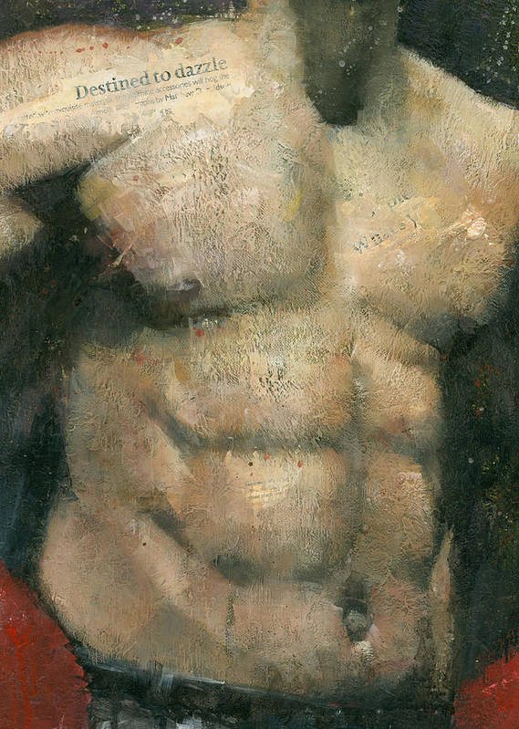 Male Print featuring the painting The Boxer by Steve Mitchell