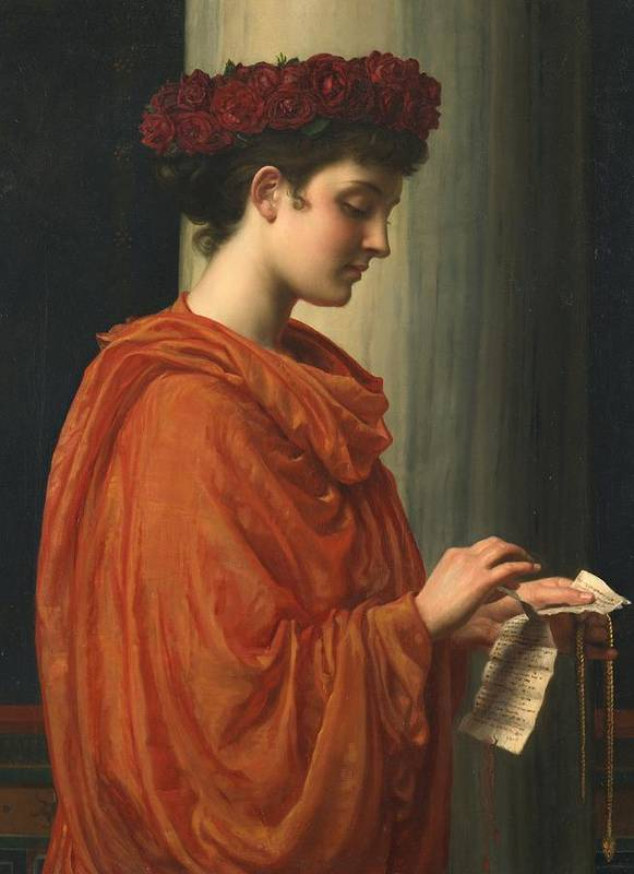 Female; Literature; Poetry; Character; Horace; Odes; Barine; Beauty; Note; Letter; Tearing; Ripping; Profile; Portrait Print featuring the painting Barine by Sir Edward John Poynter