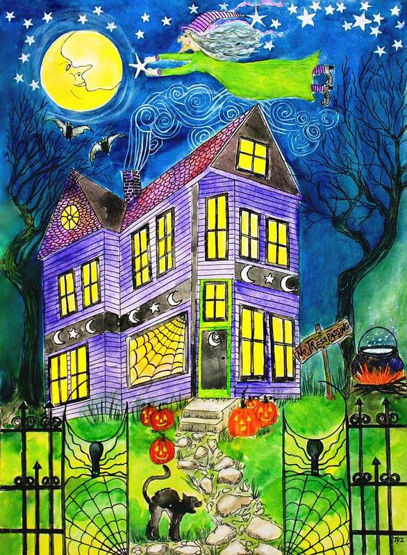 Hallows Eve Print featuring the painting Flight Of The Moon Witch On Hallows Eve by Janet Immordino