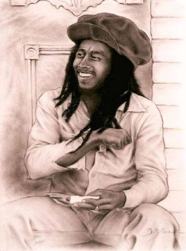 Bob Marley Print featuring the drawing Bob Marley by Guillaume Bruno
