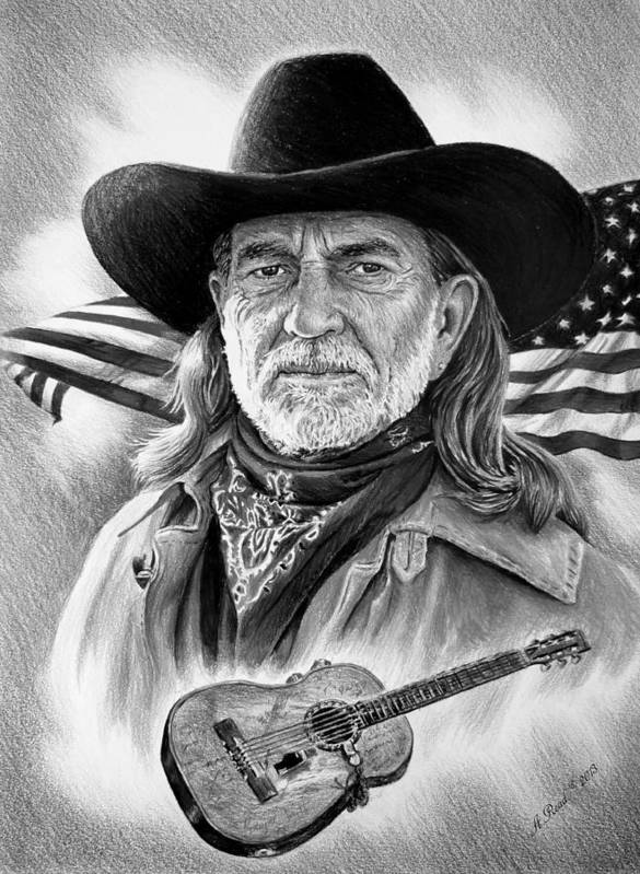 Willie Nelson Print featuring the drawing Willie Nelson American Legend by Andrew Read