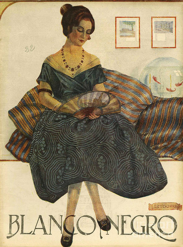 Covers Print featuring the drawing Blanco Y Negro 1923 1920s Spain Cc by The Advertising Archives
